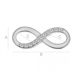 G038-Charm link infinit din argint 19.5x7.9mm cu cristale Swarovski montate