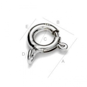 G1290-Incuietoare rotunda din argint 9.3x7.5 mm 1 bucata