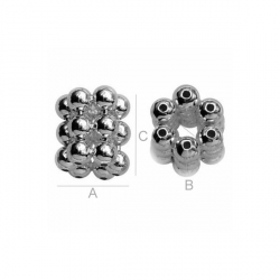 G1316-Rondele din 18 sfere argint  5mm 1buc