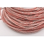 R114-Snur de piele rosu/alb impletit 3mm-1 metru