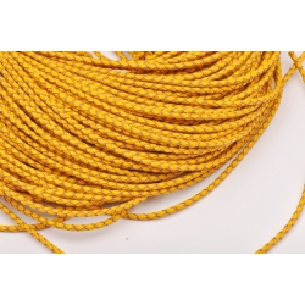 R110-Snur de piele galben impletit 3mm-1 metru