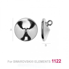 Baza simpla cu za deschisa in spate pentru Swarovski Rivoli 14mm bordura joasa