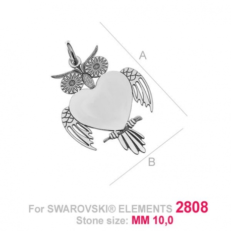 G1430-Baza pandant pentru Swarovski Heart 2808 de 14mm