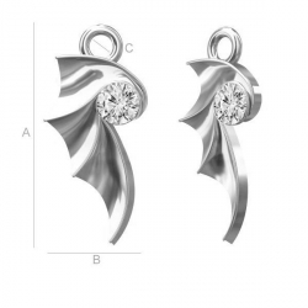 G1520-Charm aripioara cu cristal 17MM - 1 Buc