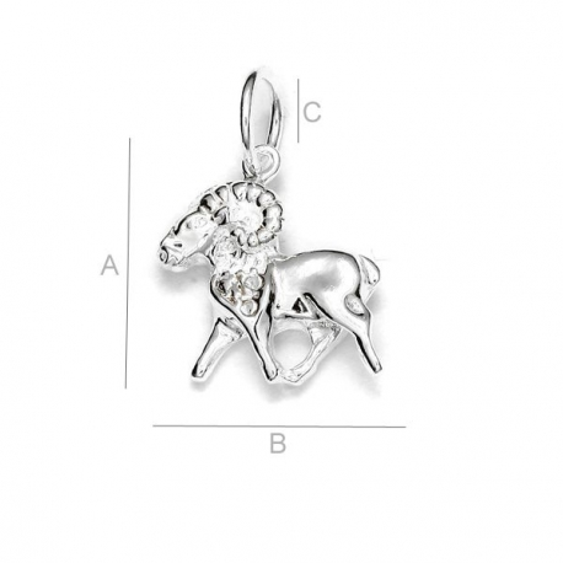 G1530-Semn zodiacal berbec din argint 18mm