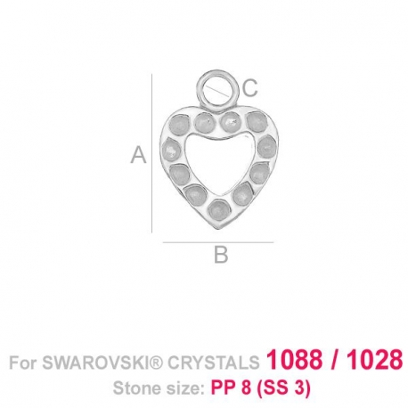 G1549- Pandantiv inimioara si loc pentru 11 cristale swarovski PP9  - 1buc