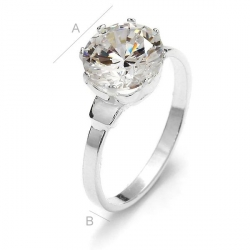 G1576 - Inel Logodna de argint 925 cu cristal de 9MM, diametru 17.0MM - 1Buc