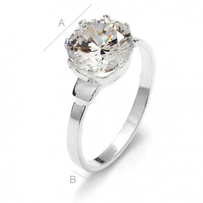 G1580- Inel Logodna de argint 925 cu cristal de 9MM, diametru 17.30MM - 1Buc