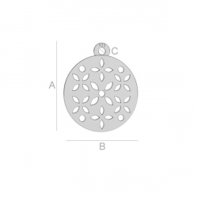 G1679-Charm banut argint 925  perforat 15MM