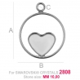 G1687-Baza pentru Swarovski Heart 2808 de 10mm Down