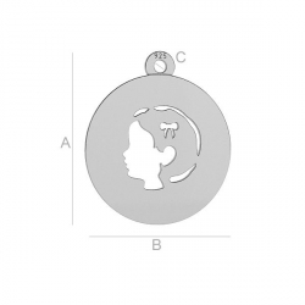 G1765-Banut chip fetita din argint cu 16x14mm