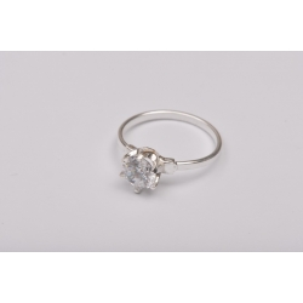 G1713- Inel Logodna de argint 925 cu cristal de 6MM, diametru 17.30MM - 1Buc