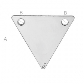 G1798 N Charm triunghi din argint cu 2 gauri 15mm-1 BUC