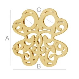 AU009-Trifoi din aur 585 14k 13x13mm grosime 0.3mm