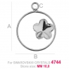 G1818-Baza pandant pentru Swarovski 4744 Flower 10MM-RIGHT