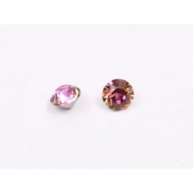 Pandant rivoli 16 mm cu Ceralun si Swarovski Xirius 1088 Crystal aquamarine tanzanite Light Rose