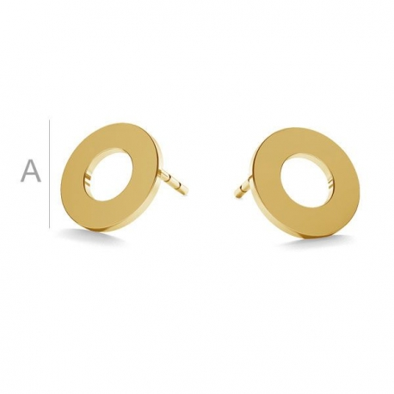 AU043-Cercei tija Cerc Aur 585 14k 9mm-PERECHE