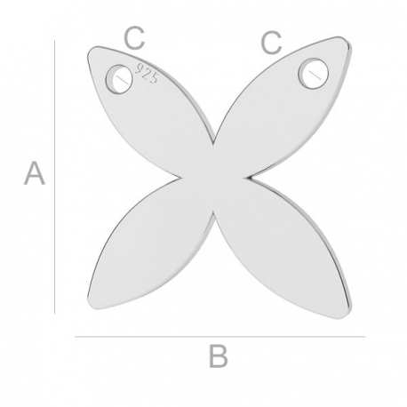 G0706-Charm/Link fluture cu doua gauri argint 925 11.60mm-1buc