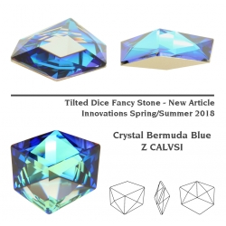P3616-Swarovski Elements 4933 Tilted Dice Crystal Bermuda Blue Z CalVSi 19mm