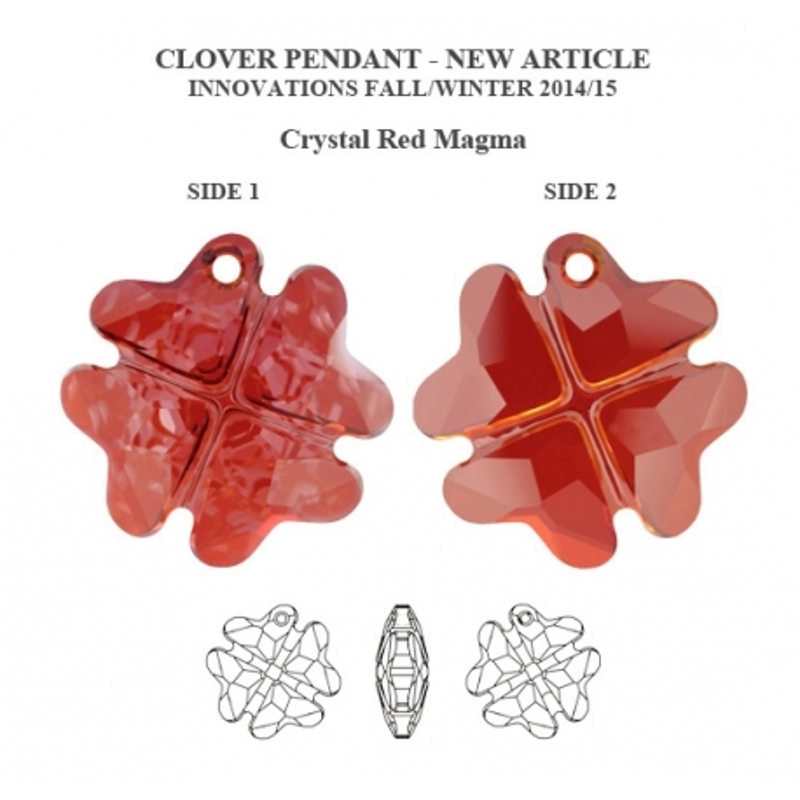 P1544-Swarovski Elements 6764 Red Magma 23mm 1 buc