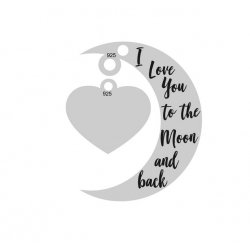 E0026-Semiluna cu inimioara I Love You to the Moon and Back 20mm x 15mm 0.33mm