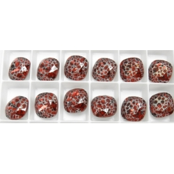 P0542-Swarovski Elements 4470 Scarlet Silver Patina Unfoiled 12 MM-1buc