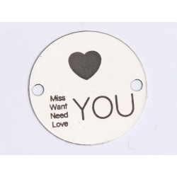 E0397 G Link din argint Miss Want Need Love You  16.5mm 0.33mm