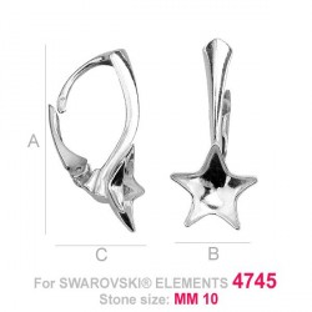 G0168-Leverback pentru Swarovski Star 4745 10mm