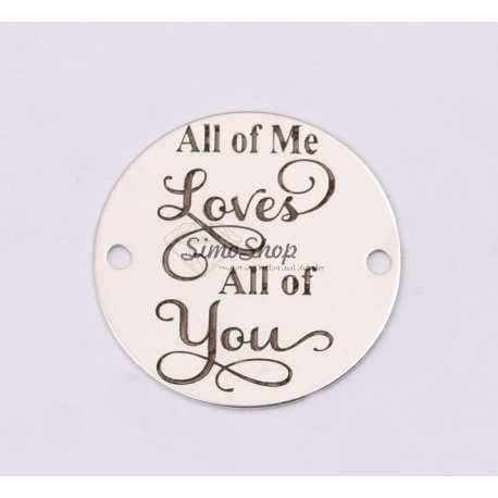 """E1217-GS-Link din argint """"All of me loves all of you"""" 16.5mm 0.33mm"""