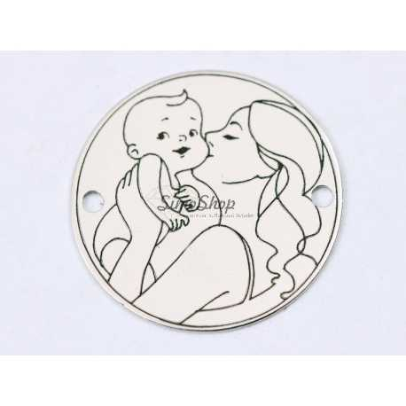 E1276 GS Link rotund argint 925 Mother kiss the baby 16.5mm 1 buc