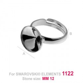 G0479-Baza inel reglabil Swarovski rivoli 12mm cu bordura joasa