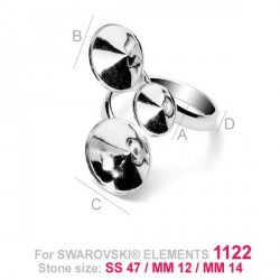G0601-Baza inel 3 rivoli 11-12-14mm cu bordura joasa