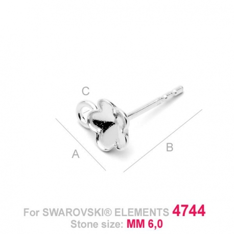 G0638-Tije cu bucla pentru Swarovski Flower 4744 de 6mm