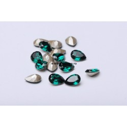 P2299-Swarovski Elements 4320 Emerald Foiled 10x7mm 1 buc