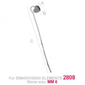 G0753-Cercei lantisor pentru Swarovski Heart 2808 de 6mm