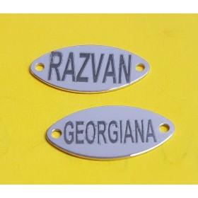 G0818-Link charm decupat trifoi 13mm argint 925 1 buc