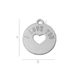 G0841-G-Charm banut argint 925 14mm I LOVE YOU