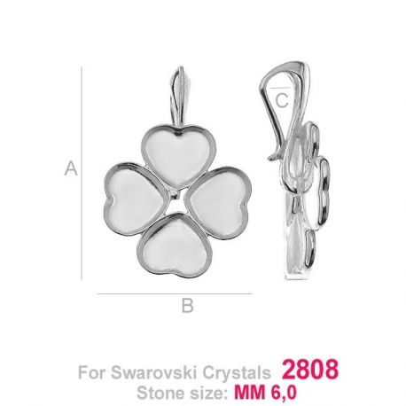 G0951-Baza pandant Swarovski Heart 2808 de 6mm