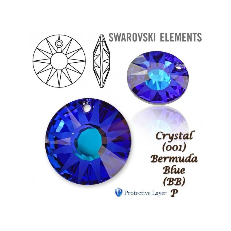 P0339-Swarovski Elements 6228 Aquamarine Aurore Boreale 10mm-1 b
