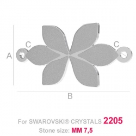 G1225-Baza pandant pentru Swarovski Flame 2205 21mm